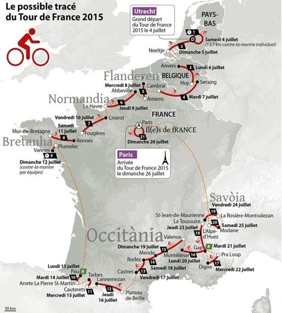 mapa del Tour de fRANCE 2015 comentada