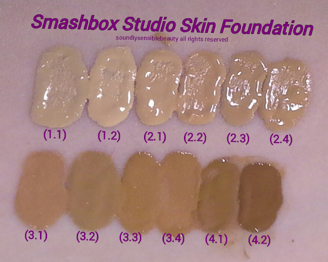 Smashbox Studio Skin 15 Hour Foundation SPF 10; Review & Swatches of Shades 1.1,  1.2,  1.3,  1.4,  2.1,  2.2,  2.3,  2.4,  3.1,  3.2,  3.3,  3.4,  4.1,  4.2,