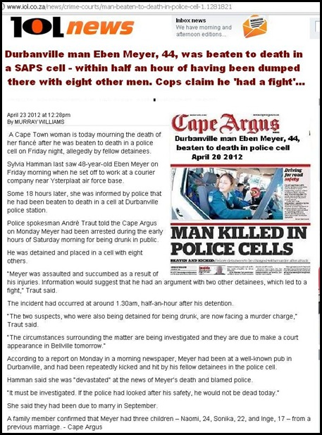 MEYER Eben 48 beaten to death Durbanville SAPS cell Apr2012