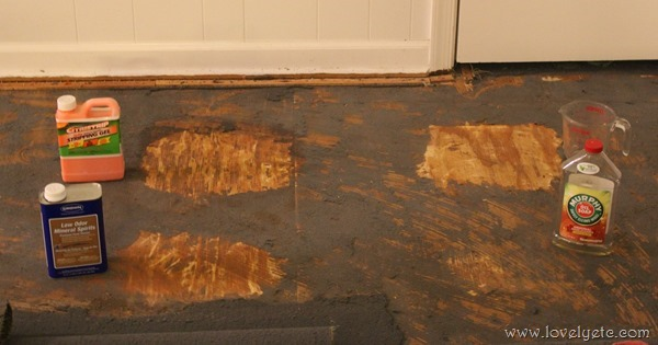 testing different methods to remove glued down carpet