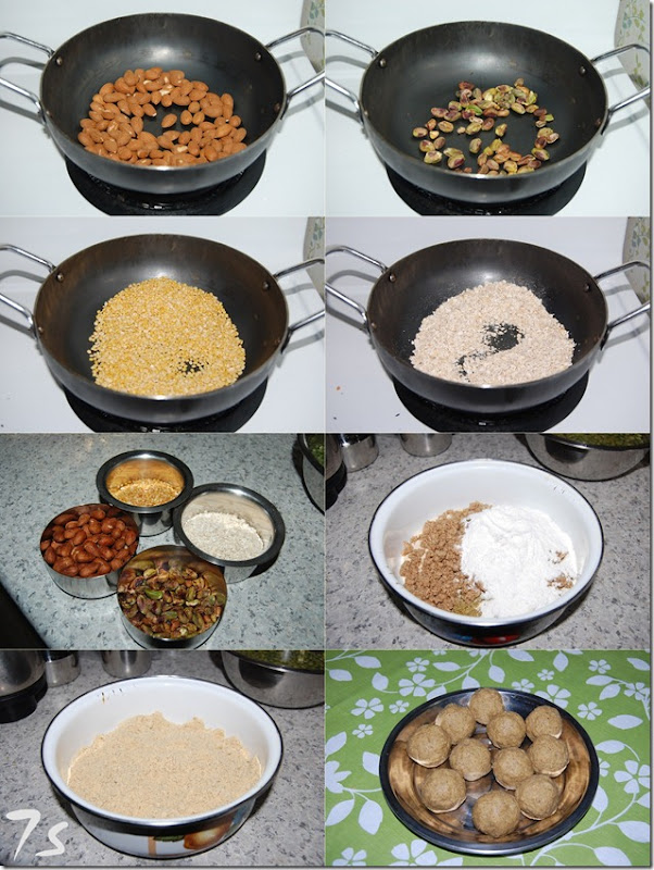 Almond oats laddu process