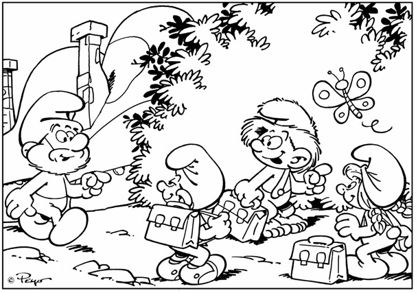 desenhos smurfs colorir