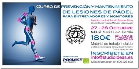 Curso de Prevención y Mantenimiento de Lesiones de pádel, Marbella 27-28 Octubre 2012.