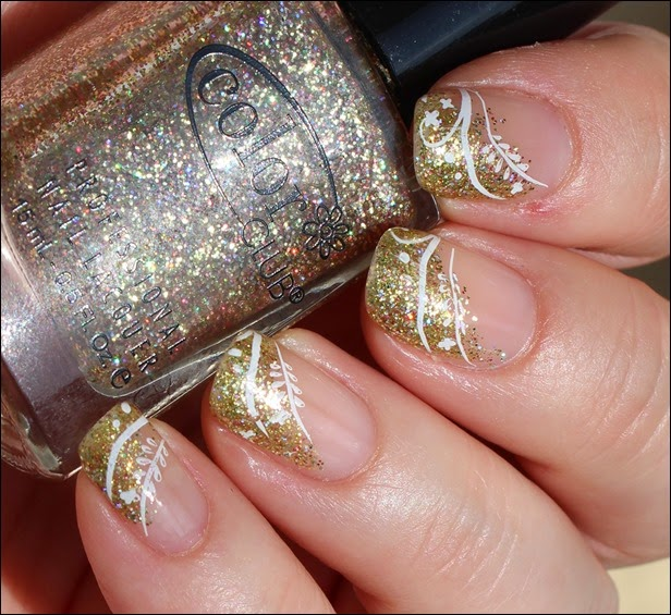 Festive Nailart Gold Glitter Stamping French 03