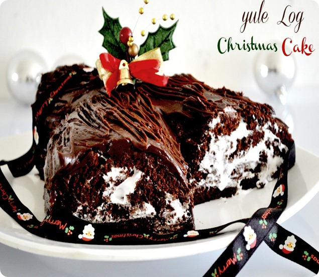 Yule Log Christmas cake