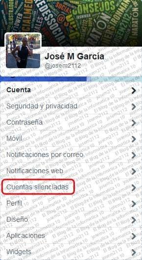 Ver usuarios silenciados en Twitter - opción cuentas silenciadas