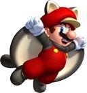Mario se transforma em esquilo voador. Não veste uma roupa de esquilo voador.