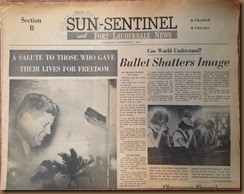 Kennedy_newspaper headline_23 Nov 1963_Sun Sentinel