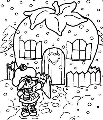 moranguiho-Desenho da casa Moranguinho para colorir