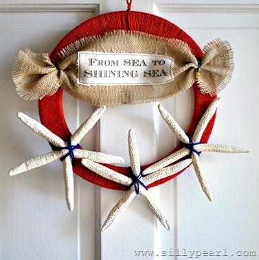 July 4th Starfish Wreath - The Silly Pearl