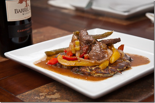 Red Wine Pepper Steak over Asian Potato Pancakes-2