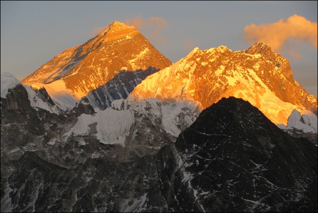 Glaciologist Kimberly Casey snapped this shot of Everest on a research expedition in 2009. The worst accident in the mountain's history has effectively ended the 2014 climbing season and was caused by global warming. John All, a climber, scientist, and professor of geography at Western Kentucky University, said, 'The ice is melting at unprecedented rates and that greatly increases the risk to climbers.' Photo: Kimberly Casey