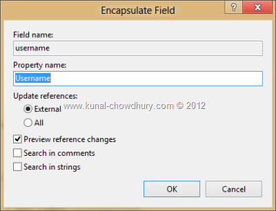 Visual Studio 2012 Refactor - Encapsulate Field