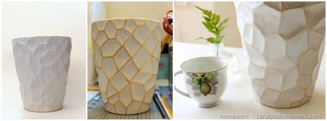 White and Gold Painted Pot Makeover via homework | carolynshomework.com