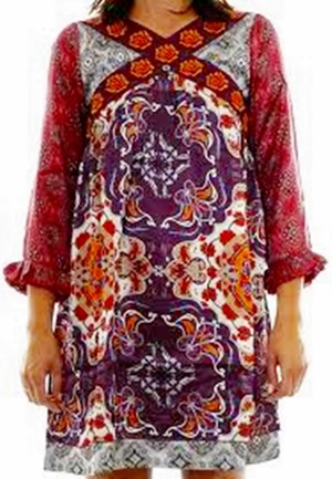 #756 Salon silk dress purple