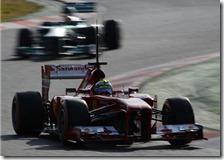 Massa con la Ferrari nei test di Barcellona 2013
