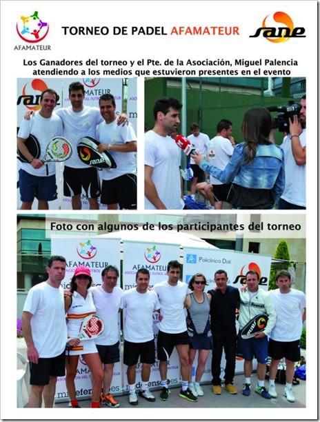 La firma SANE colabora con la Asociación de Futbolistas AFAMATEUR en un torneo de pádel.