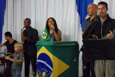 singing in Portuguese.. or trying to, anyway
