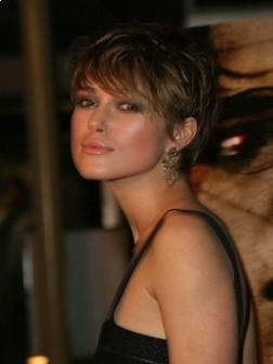 Keira Knightley's Short Hairstyle with Side Swept Bangs