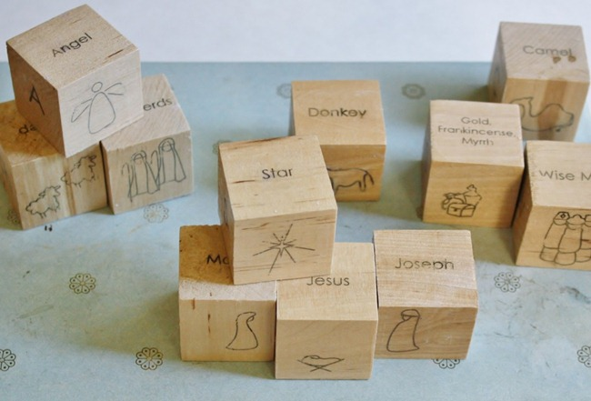 wooden block nativity by yellow spool