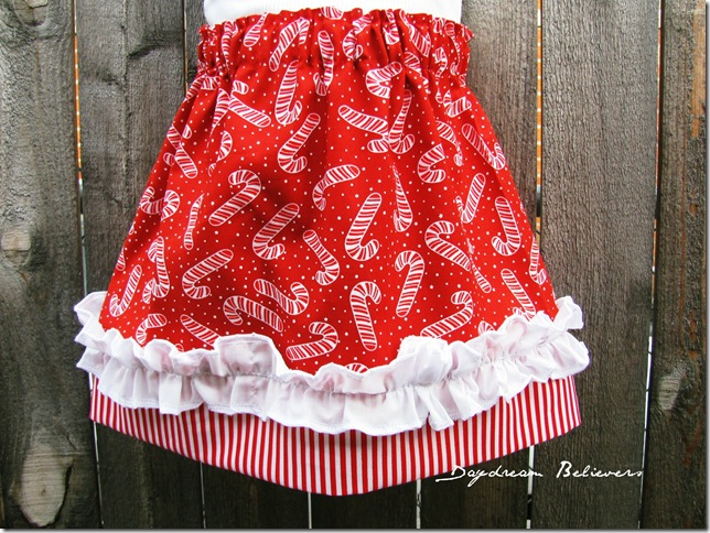 one of a kind candy cane christmas ruffle skirt