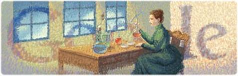 Marie Curies 144th Birthday-Google Logo