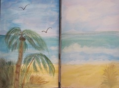 Sea journal watercolor double page 4.2013