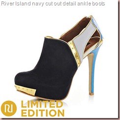 navy cut out detail ankle boots