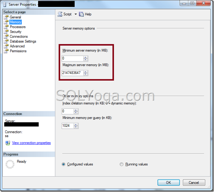 SQL SERVER Limit SQL SERVER Memory usage SQL SERVER Properties