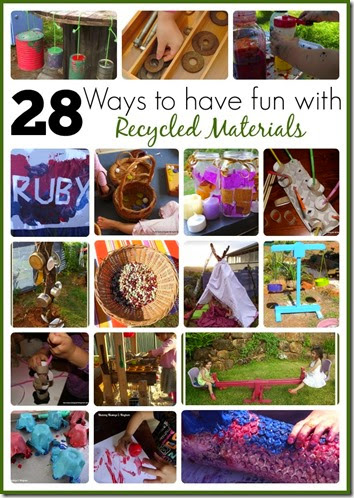 28 Kids Activities using REcycled Materials #play #kidsactivities #preschool