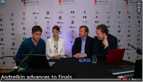 Andreikin being interviewed after win in round 6, WC 2013