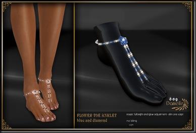 DANIELLE Flower Toe Anklet Blue And Diamond'