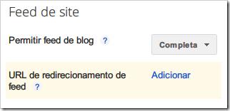 Sem URL de redirecionamento de feed