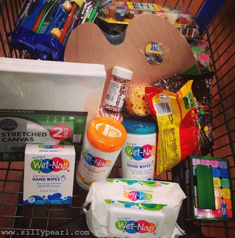 Wet Nap wipes and art and cupcake decorating supplies at WalMart
