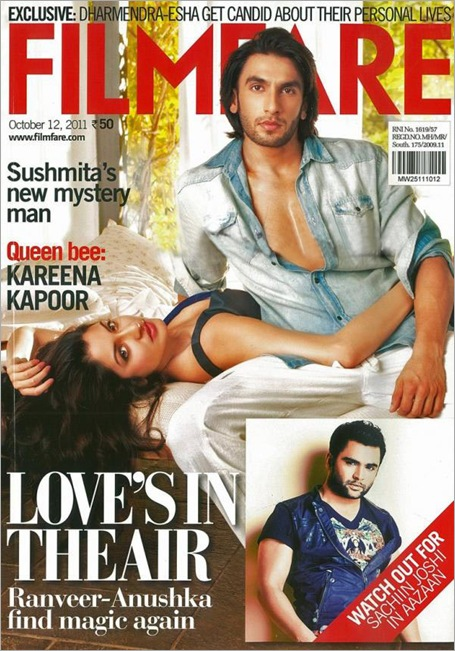 Ranveer Singh and Anushka Sharma on the cover of Filmfare Magazine October 2011