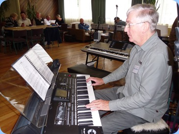 Gordon Sutherland playing his Korg Pa3X. Photo courtesy of Colleen Kerr