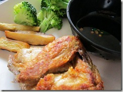 max's chicken, camote fries, steamed broccoli, 240baon