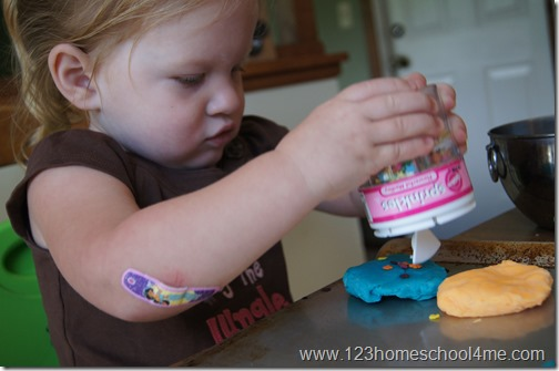 Making playdough cookies