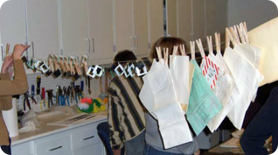Drying water-damaged items on a clothesline