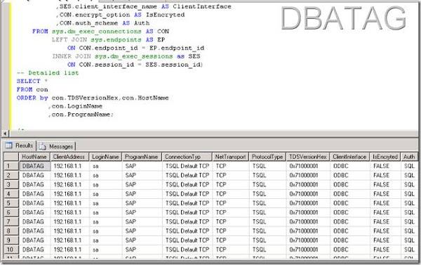 SQL Script to get Client Connection Details