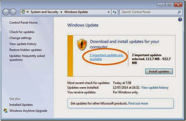 cara manual menginstall update komputer windows 7