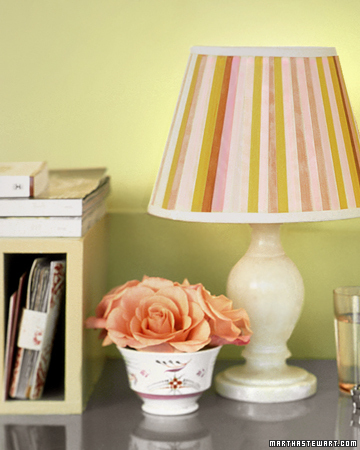 Spring: There is no need for a sizable investment in season. Something as simple as adorning an ordinary lampshade with colorful stripes can make the whole room feel a bit like spring.