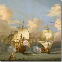 This-painting-of-the-battle-shows-the-Spanish-flagship-Real-San-Felipe-centre-being-bombarded-by-British-ships.-It-was-created-after-the-battle-probably-by-Peter-Monamy-an
