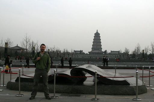 Me next to the 'Valuable Book of Tang', in front of the Big Goose Pagoda, the largest bronze sculpture of a book in the world. Why not.