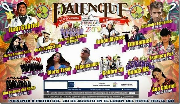 boletospalenquepachucahgo2013 precios xzona preferente y general