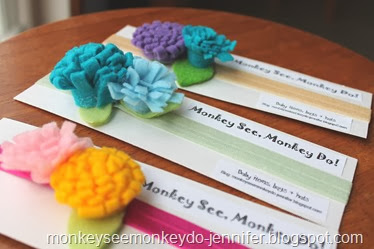 felt flower headbands (6)