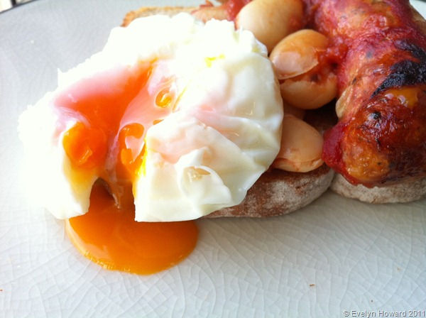 Sausage, beans and poached egg © Evelyn Howard 2011