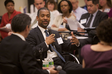 John B. Rhea, Chairman of the NYC Housing Authority, discusses affordable housing at a Leading Large Scale Change executive briefing.  Photo: Sam Hollenshead