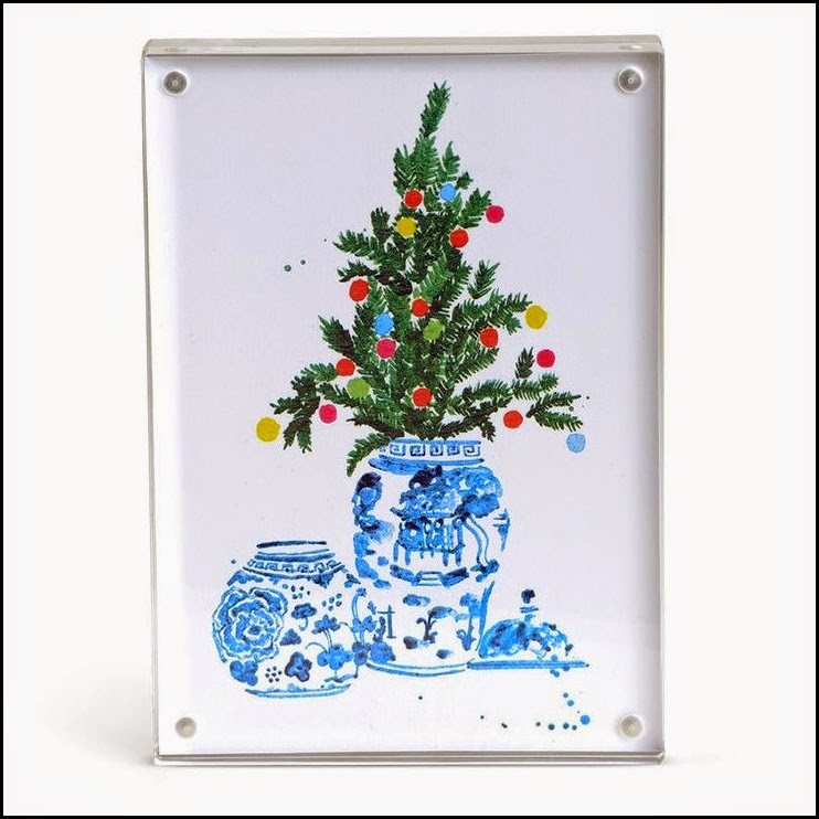 BLUE AND WHITE URNS FOR CHRISTMAS