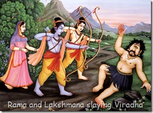 Rama and Lakshmana slaying Viradha